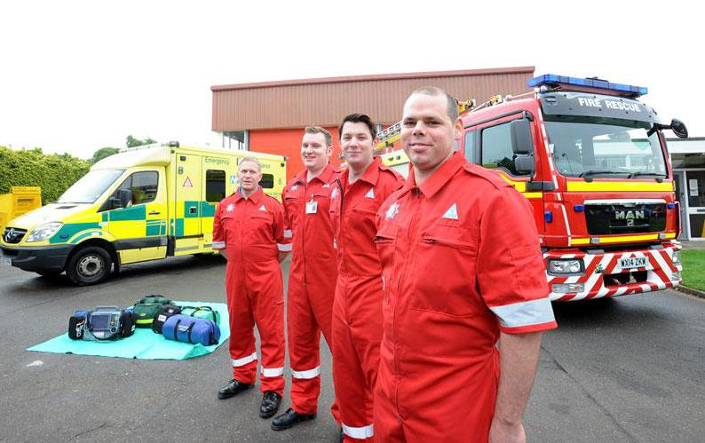 Fast response: Long Sutton firefighters (from left) Richard King, Darren Goult, Will Kirkham and Sean Gedney