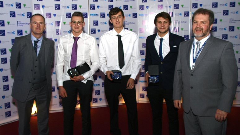 the Automotive Engineering Award winners: Students Nathan Foster, John Downing and Dominic Barnard with lecturers Derek Howsham and Peter Jackson.