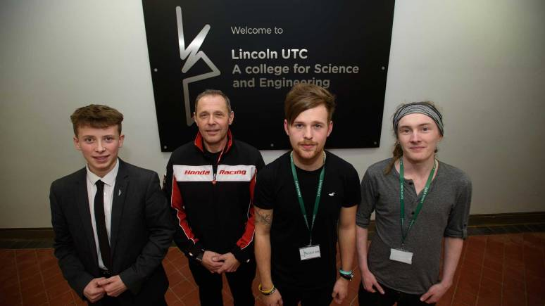 Lincoln UTC student Macauley Webb, Honda manager Havier Beltran, musician Rich Cottell and student Stephen Sweeney. Photo: Steve Smailes for The Lincolnite