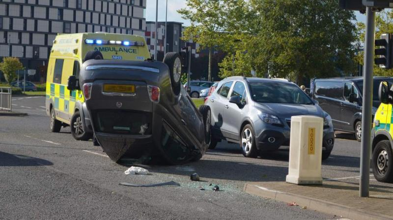 The Fiat flipped onto its roof in the crash in Lincoln city centre. Photo: The Lincolnite