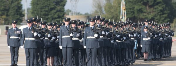 RAF Coningsby personnel on parade in celebration of 29 Squadron's 100th anniversary in 2015.  Photo: Steve Smailes