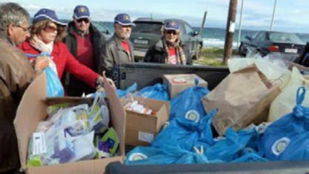 Goods delivered to the Greek island of Lesbos for the Syrian refugees