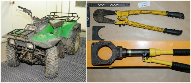 Items seized by British Transport Police during investigations.