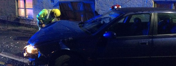 The blue Peugeot 406 left the road and crashed into a house on Long Leys Road in Lincoln. Photo: Lincolnshire Police Specials