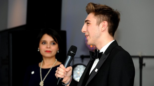 17-year-old Nathan addressing the guests. Photo: Stuart Wilde