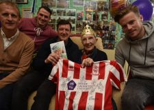 Elsie Horsewood celebrating her 100th birthday with past and present Lincoln City players. Photo: Steve Smailes for The Lincolnite