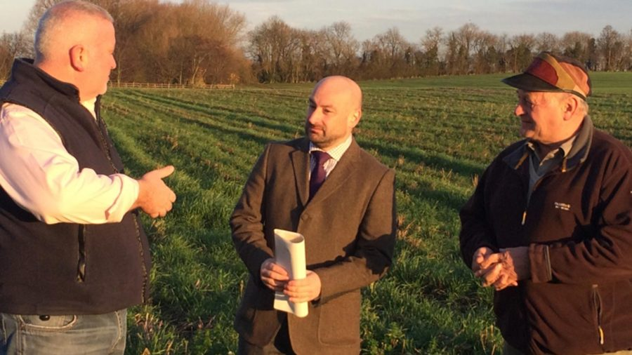 Marc Jones speaking to Councillor Stuart Kinch and Peter Moulds about his plans for so-called parish constables