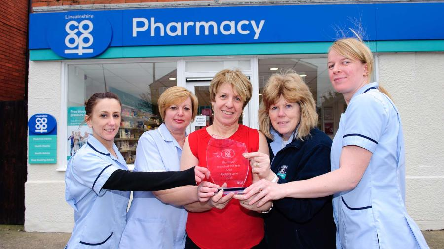 Karen Sutton, Tracy Pearce, Avril McDermott, Dee Buckberry and Louise Hubbard from Rookery Lane Pharmacy. Photo: Lincolnshire Co-op