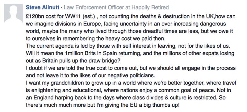 Comment by reader Steve Allnutt