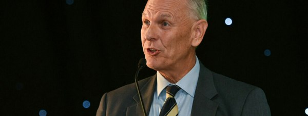 Jim Godfrey OBE, DSc, chair on the Board of Trustees of the International Rice Research Institute