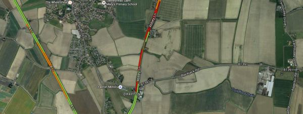 The A52 at Swineshead will be closed for some time.