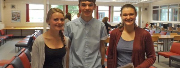 (left to right) Emma Houlden, Tom Herbert Alice Hudson collect  their exam results at Branston.