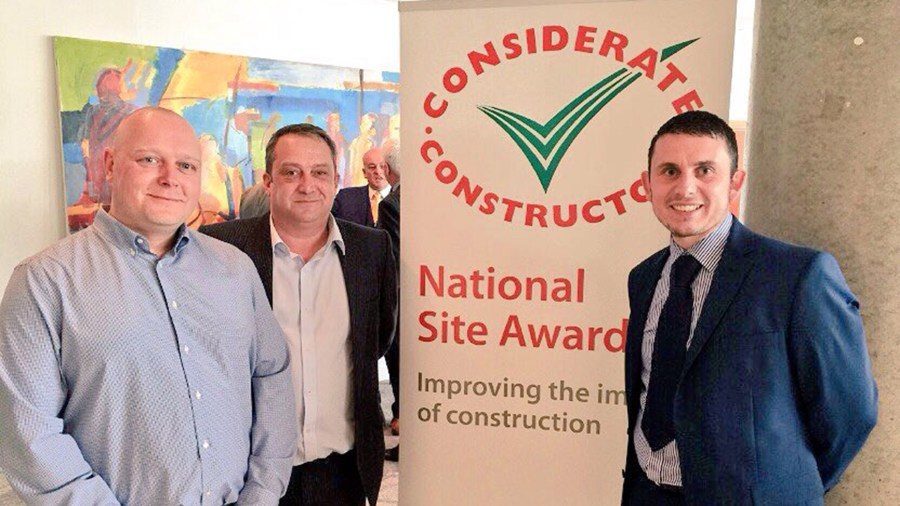 Paul Ayres, Site Manager, Rick Wooley, Senior Site Manager and Gareth Speed, Account Manager for Simons Group