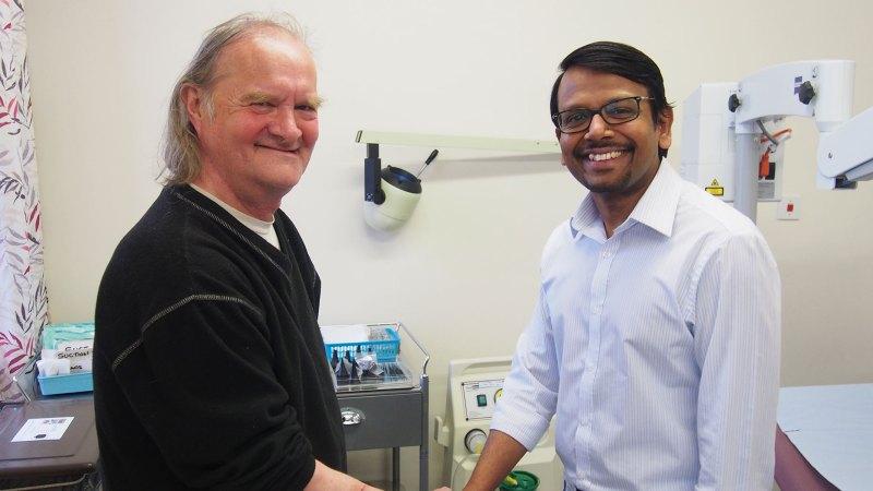 Ian Crow thanks his surgeon Ganapathy Dhanasekar