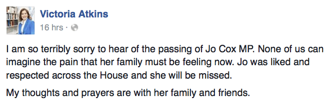 Statement by Victoria Atkins on her Facebook page.