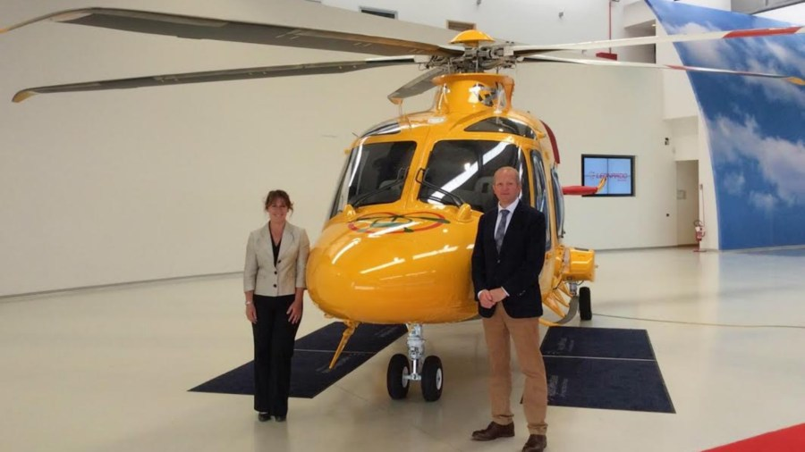 Karen Jobling, Chief Executive of Lincs & Notts Air Ambulance, and Jack O'Hern joint Chairman of Lincs & Notts Air Ambulance Board of Trustees with the new ambucopter.