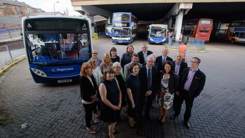 Councillors and partners outside the old bus station before it is demolished to make way for the Lincoln Transport Hub. Photo: Steve Smailes for The Lincolnite