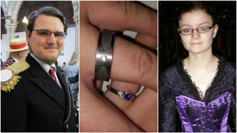 Jon and Di with their engagement rings.