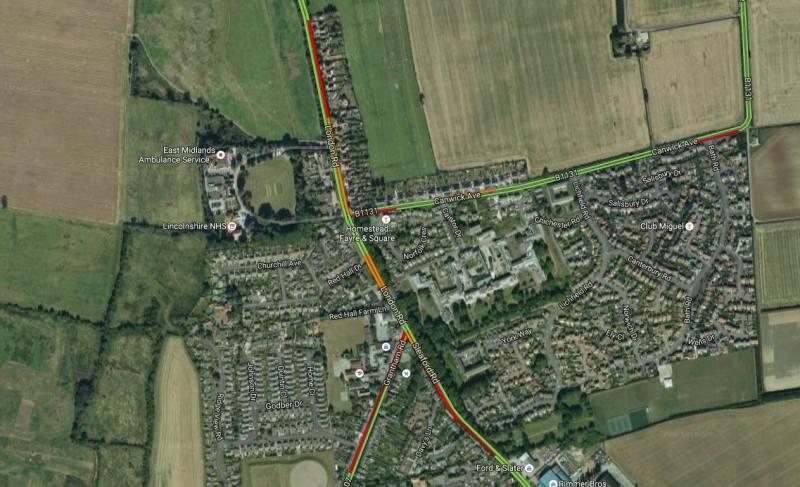 There is heavy traffic on Sleaford Road in Bracebridge Heath. Emergency services have been called to the crash.