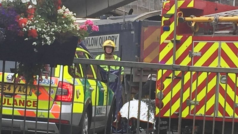 An air ambulance, paramedics and firefighters at the scene of the incident. Photo: The Lincolnite