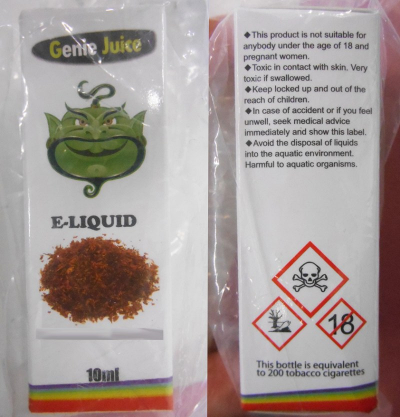 One of the nicotine-containing e-liquids sold to an underage child during a Trading Standards test purchase operation.