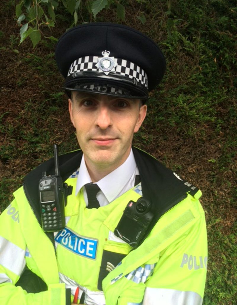 Lincoolnshire Police lead for body worn video, Sergeant Gareth Boxall showcasing one of the new cameras