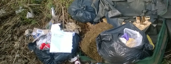 Some of the waste in Staverton Woods in Lincoln. Photo: City of Lincoln Council