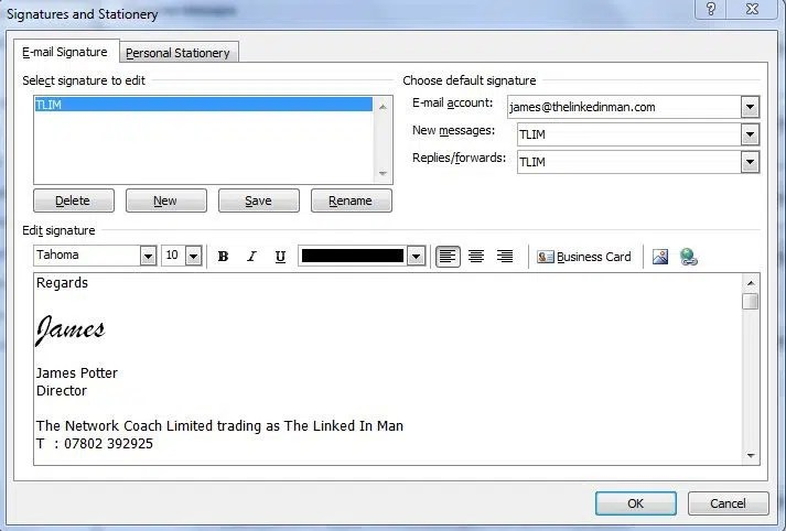 How to add a LinkedIn signature button to your email in Outlook - business signature email