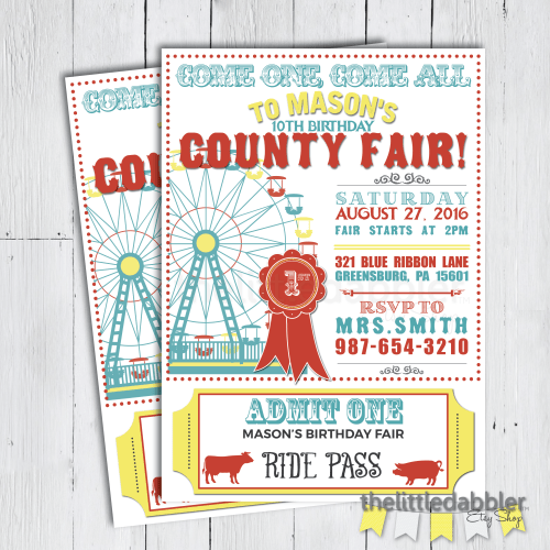 County Fair Invitation from thelittledabbler Etsy shop!