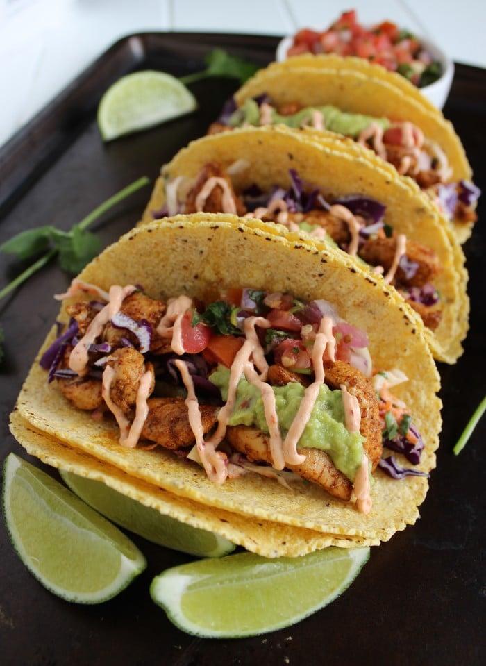 Skinny Baja Chicken Tacos