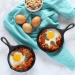 Skillet Eggs with Tomatoes & White Beans
