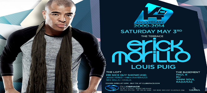 Club Space 14th Anniversary with Erick Morillo May 3rd header