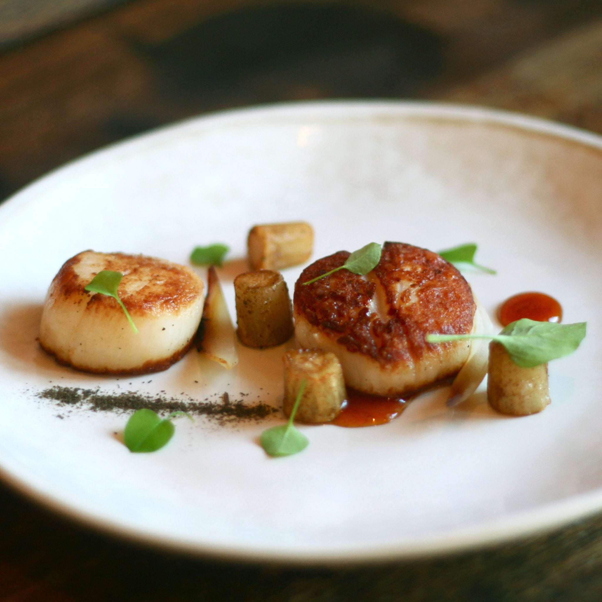 Gastrique Cuisine Seared Scallops With Caramelized Salsify Burnt Onions
