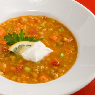 Curried Tomato & Red Lentil Soup
