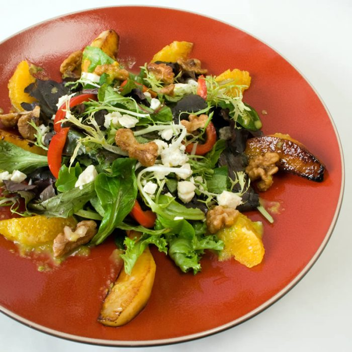 Caramelized Pear Salad with Gorgonzola, Candied Spiced Walnuts & Spicy Orange Vinaigrette