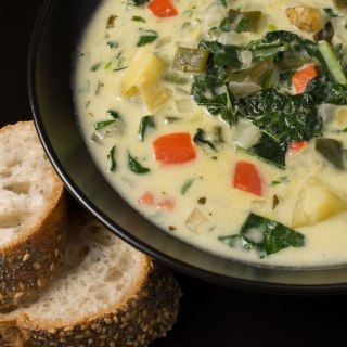 Green Chile Chowder with Yellow Finn Potatoes and Italian Kale