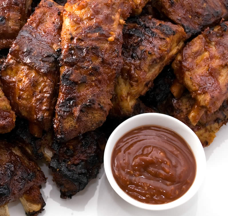 Platter of LunaCafe Baby Back Ribs with BBQ Glaze