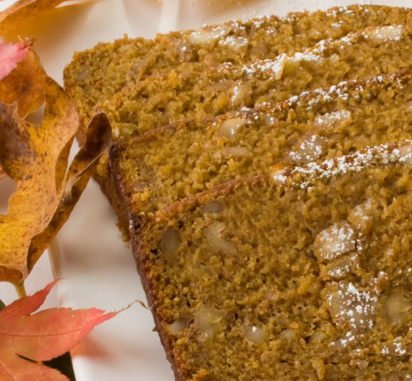 Slice of Pumpkin, Spice & Everything Nice Tea Bread