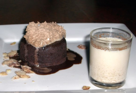 Chocolate Almond Cake Candied Almonds Chocolate Cream Horchata Seattle Brasa Northwest Chocolate Desserts 2008