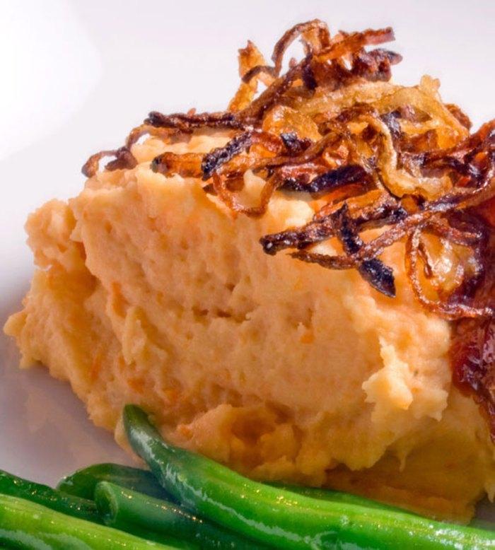 Potato, Yam, Garlic & Gorgonzola Mashers