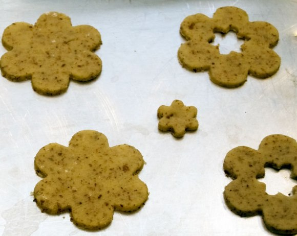 Cut out cookies on sheet Sweet Parmesan Almond Cookies