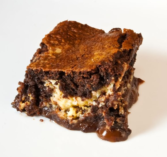Brownie closeup LunaCafe's Burnt Caramel & Lemon Chevre Brownies
