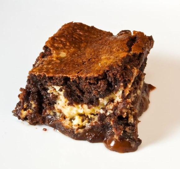 Brownie closeup LunaCafe's Burnt Caramel & Lemon Chevre Brownies
