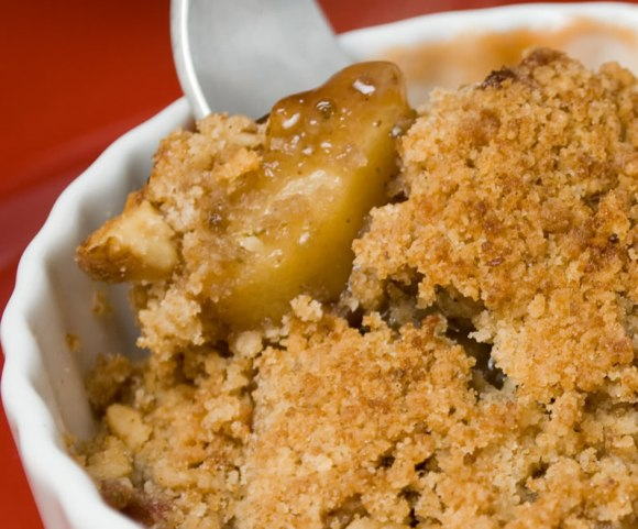 Rhubarb and Apple Crisp with Fork Rhubarb Apple Crisp with Toasted Hazelnut Streusel