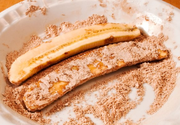 Sliced bananas in cinnamon sugar Fried Banana Split with Mexican Chocolate Sauce & Strawberry Lime Salsa