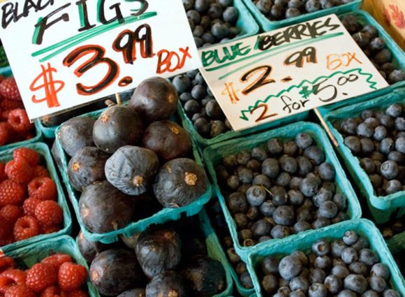 Blueberries figs and raspberries at Pike Place Market Blueberry Primer