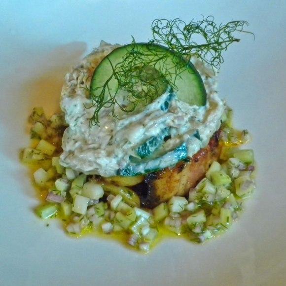 Metrovino Soked Trout Cucumer Salad Metrovino's Parmesan Pound Cake