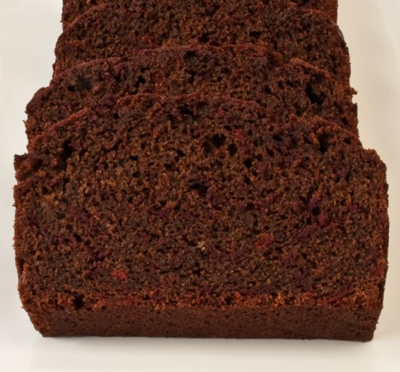 Closeup of chocolate beet cake Heavenly Chocolate Beet Tea Loaf