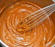 Whisking Peanut Butter into Caramel Sauce