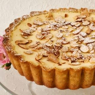 Lemon & Rose Petal Ricotta Tart (Torta della Nonna): Batter Method with Bottom Crust Only